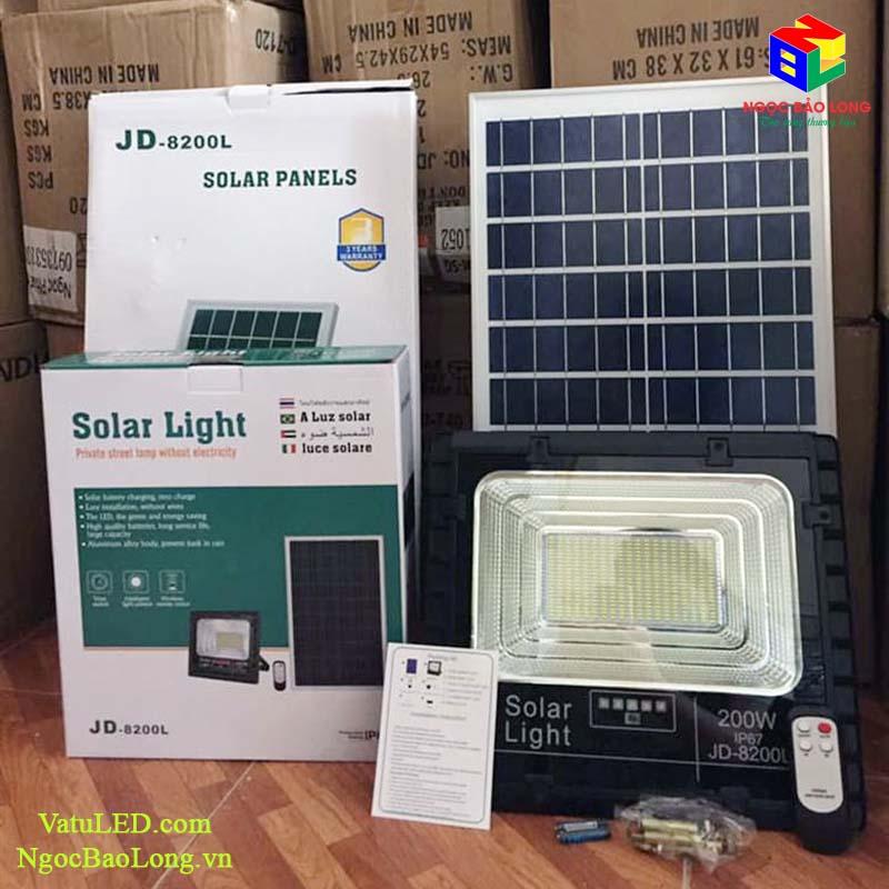đèn pha năng lượng mặt trời 200w hãng jindian jd-8200L