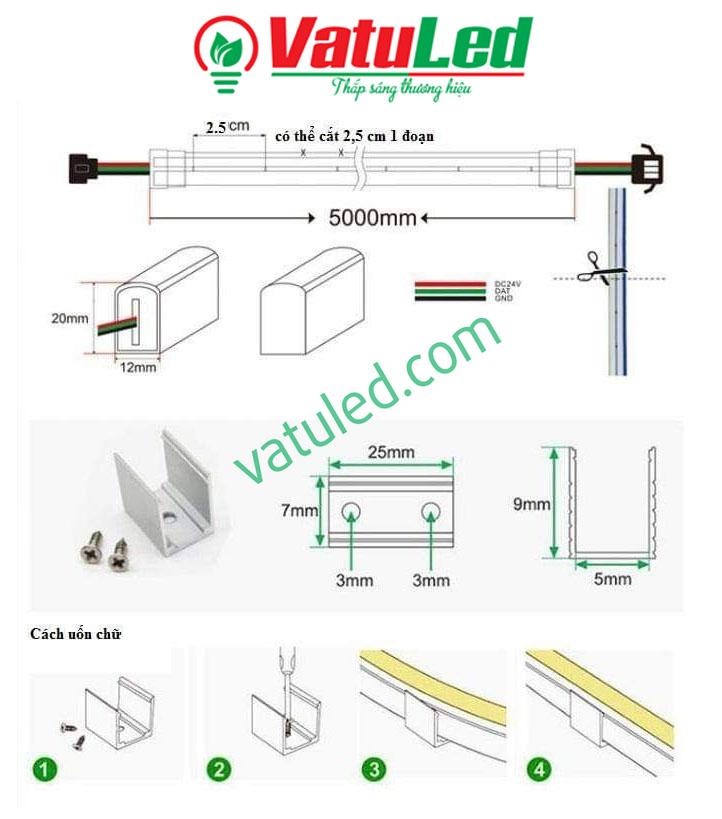 Chỗ điểm cắt LED Neon và hướng dẫn cách thi công LED Neon