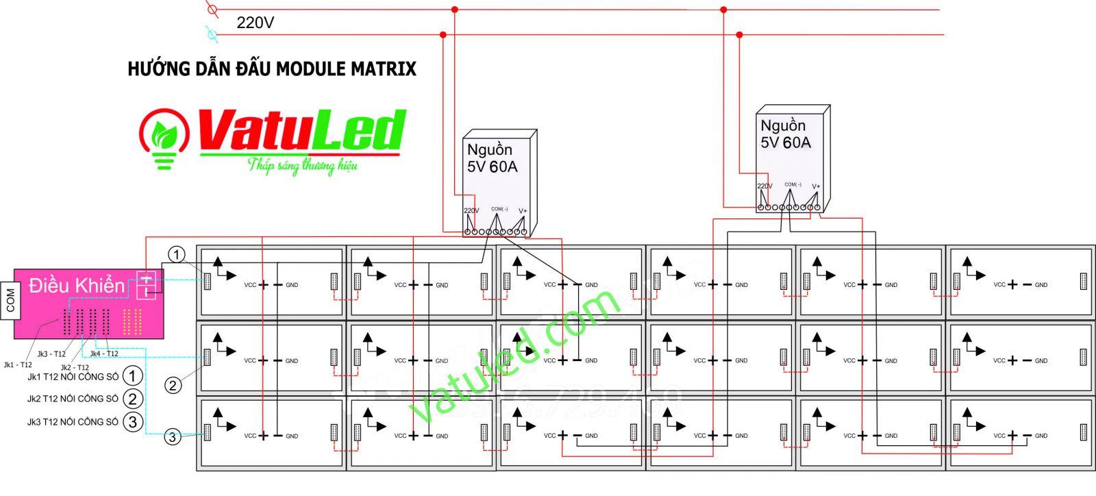 Cách đấu nối LED Ma trận P10 đỏ