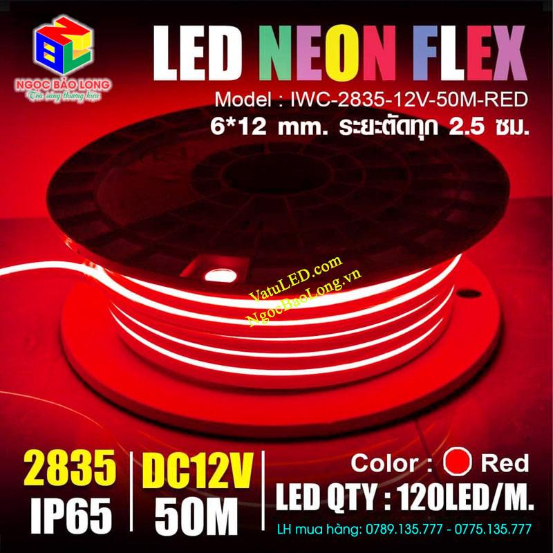 LED Neon 12V màu đỏ cuộn 50m giá rẻ