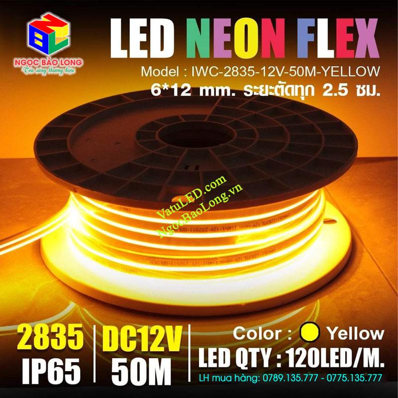 LED dây neon 12v 50m màu vàng đậm