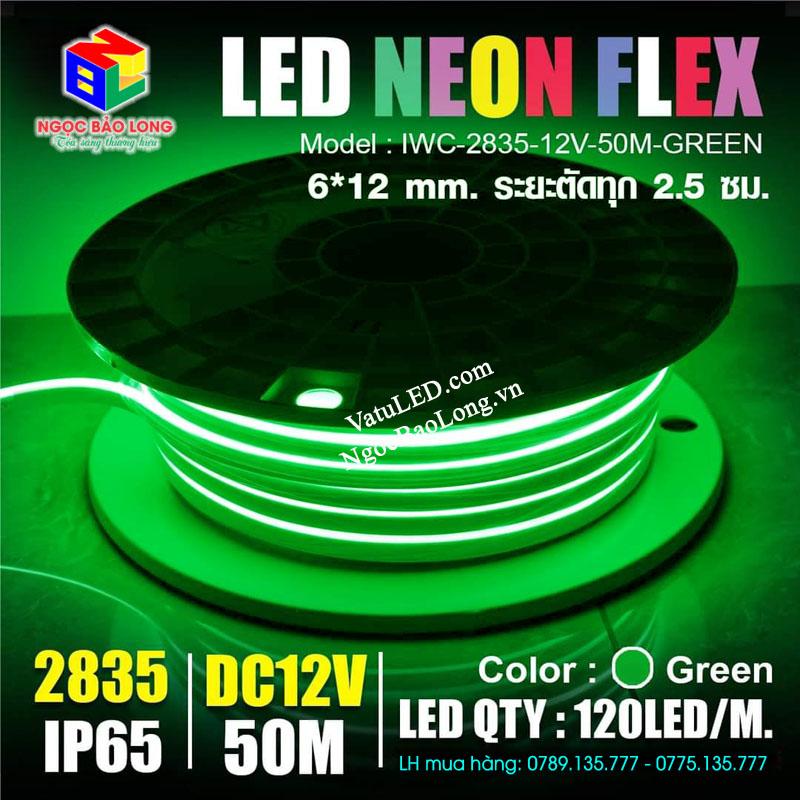 LED neon 12v cuộn 50m màu xanh lá