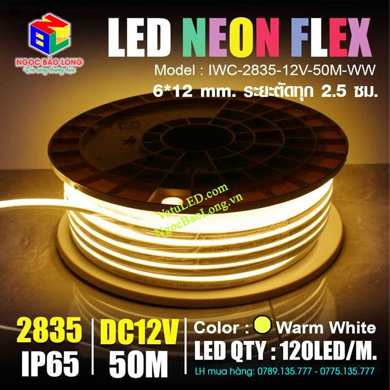 LED neon sign 12v cuộn 50m màu ấm